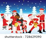 christmas concert with family. | Shutterstock .eps vector #728629390
