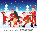 christmas concert with family. | Shutterstock .eps vector #728629408