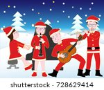 christmas concert with family. | Shutterstock .eps vector #728629414