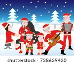 christmas concert with family. | Shutterstock .eps vector #728629420