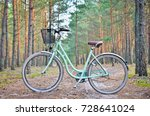 old green vintage bicycle with... | Shutterstock . vector #728641024