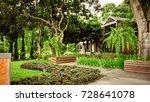 the garden is decorated in... | Shutterstock . vector #728641078