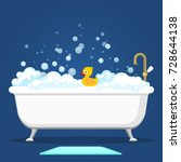 bathtub vector illustration.... | Shutterstock .eps vector #728644138