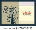 happy halloween lettering... | Shutterstock .eps vector #728652190