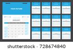 calendar for 2018 blue... | Shutterstock .eps vector #728674840