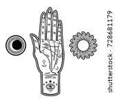 vintage fortune teller hand... | Shutterstock .eps vector #728681179