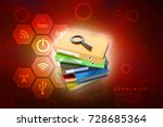 laptop folder and magnify glass ... | Shutterstock . vector #728685364