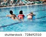 girl on an inflatable beach... | Shutterstock . vector #728692510