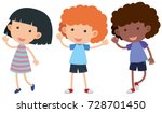 three kids with happy face... | Shutterstock .eps vector #728701450