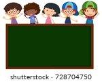 chalkboard with happy children... | Shutterstock .eps vector #728704750