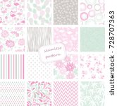 set of 16 vintage seamless... | Shutterstock .eps vector #728707363