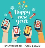 happy new year lettering with... | Shutterstock .eps vector #728711629