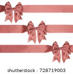 three identical gift coral bows ... | Shutterstock . vector #728719003