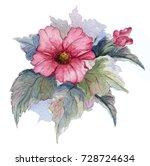 flowering branch of red... | Shutterstock . vector #728724634