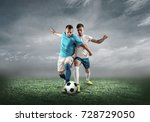 soccer player on a football... | Shutterstock . vector #728729050