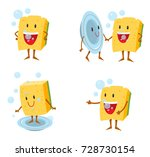 sponge cartoon  washing dishes... | Shutterstock .eps vector #728730154
