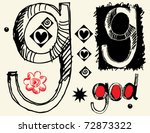 childish hand drawn alphabet ... | Shutterstock .eps vector #72873322