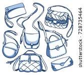 vector set of fashion handbags. | Shutterstock .eps vector #728735464