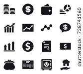 16 vector icon set   coin stack ... | Shutterstock .eps vector #728741560