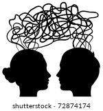 man and woman thinking on same...   Shutterstock .eps vector #72874174