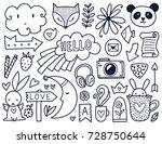 doodles cute elements. black... | Shutterstock .eps vector #728750644