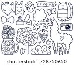 doodles cute elements. black... | Shutterstock .eps vector #728750650