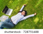 hipster woman in casual wear... | Shutterstock . vector #728751688