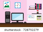 workplace with desk computer... | Shutterstock .eps vector #728752279