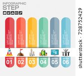 6 steps infographic design... | Shutterstock .eps vector #728752429