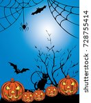 halloween scary poster design... | Shutterstock .eps vector #728755414