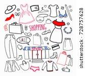 shopping hand drawn set....
