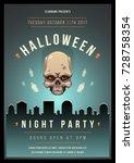 colorful halloween celebration... | Shutterstock .eps vector #728758354
