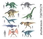 Dinosaurs Skeletons Silhouette...