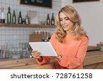 beautiful smiling blonde woman... | Shutterstock . vector #728761258