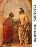 Small photo of LONDON, GREAT BRITAIN - SEPTEMBER 18, 2017: The painting of Christ appearing to the doubting Thomas in church Immaculate Conception, Farm Street based on a original by Cima da Conegliano (1459 – 1517)