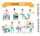set of woman housewife. flat... | Shutterstock .eps vector #728790178
