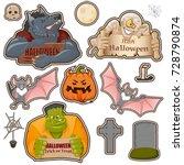 set of halloween related... | Shutterstock .eps vector #728790874