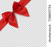 realistic red bow and ribbon... | Shutterstock .eps vector #728805754