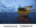 sunset at the offshore gas... | Shutterstock . vector #728806978