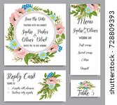 wedding invitation card suite... | Shutterstock .eps vector #728809393