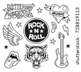 rock and roll patches... | Shutterstock .eps vector #728819113
