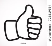 black contour of thumb up icon... | Shutterstock .eps vector #728819554