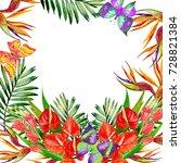 watercolor tropical card | Shutterstock . vector #728821384
