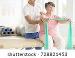 elderly woman doing active pnf...   Shutterstock . vector #728821453