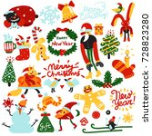 set of colorful christmas and... | Shutterstock .eps vector #728823280