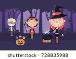 halloween background with... | Shutterstock .eps vector #728835988