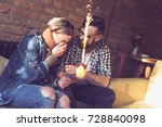 young couple in love sitting in ... | Shutterstock . vector #728840098
