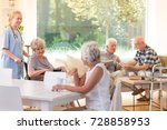 group of seniors spending free... | Shutterstock . vector #728858953