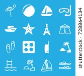 vacation icons set. set of 16... | Shutterstock .eps vector #728864134