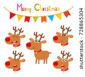 christmas set of cute cartoon... | Shutterstock .eps vector #728865304